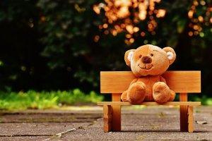 ours de pelluche sur un banc